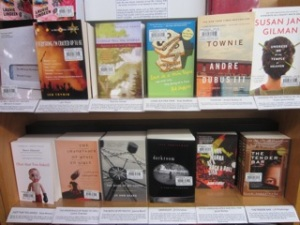 Laurie's recommended memoirs shelf at Magers & Quinn bookstore in Minneapolis